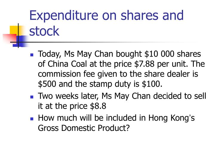 Expenditure on shares and stock