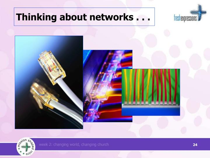 Thinking about networks . . .