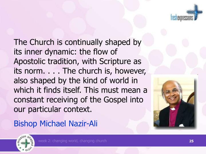 The Church is continually shaped by its inner dynamic: the flow of Apostolic tradition, with Scripture as its norm. . . . The church is, however, also shaped by the kind of world in which it finds itself. This must mean a constant receiving of the Gospel into our particular context.