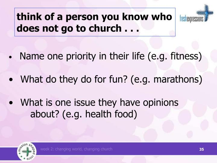 think of a person you know who does not go to church . . .