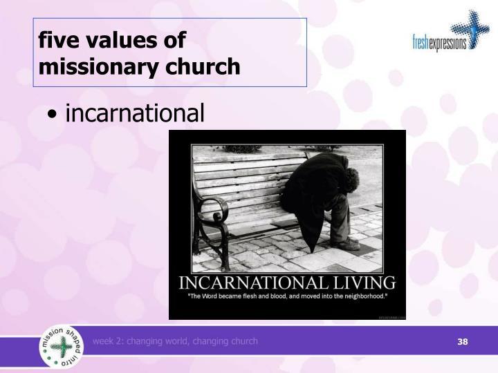 five values of missionary church