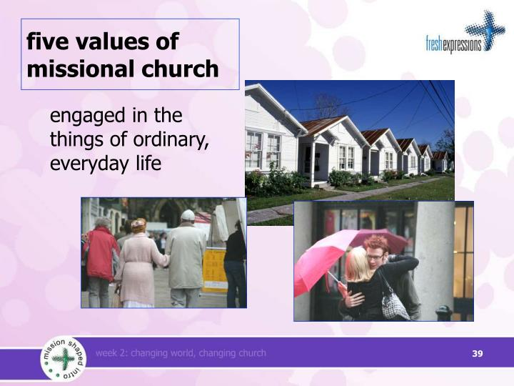 five values of missional church