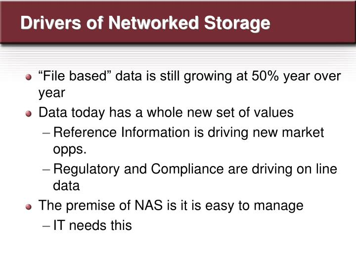 Drivers of Networked Storage