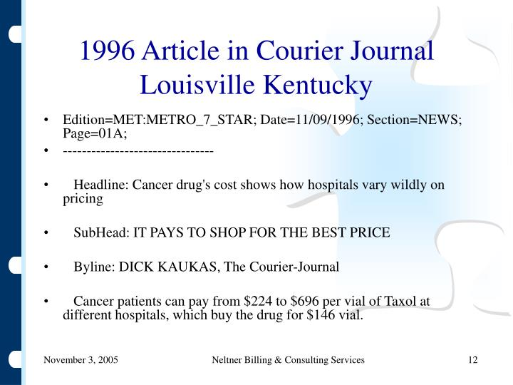 1996 Article in Courier Journal Louisville Kentucky