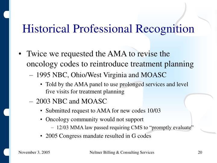 Historical Professional Recognition
