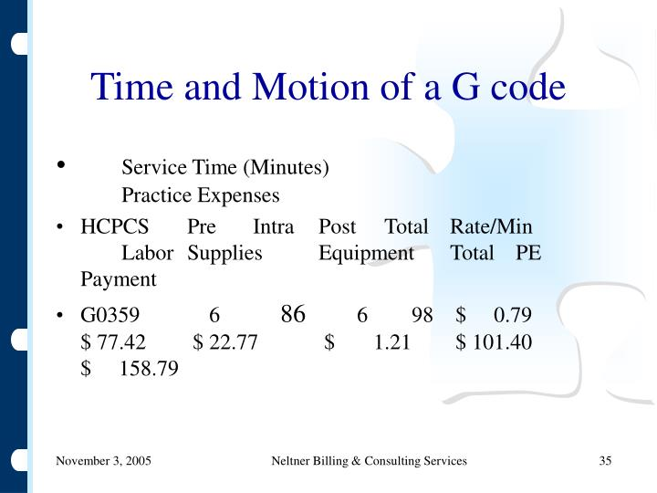 Time and Motion of a G code