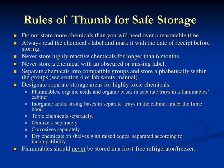 Rules of Thumb for Safe Storage