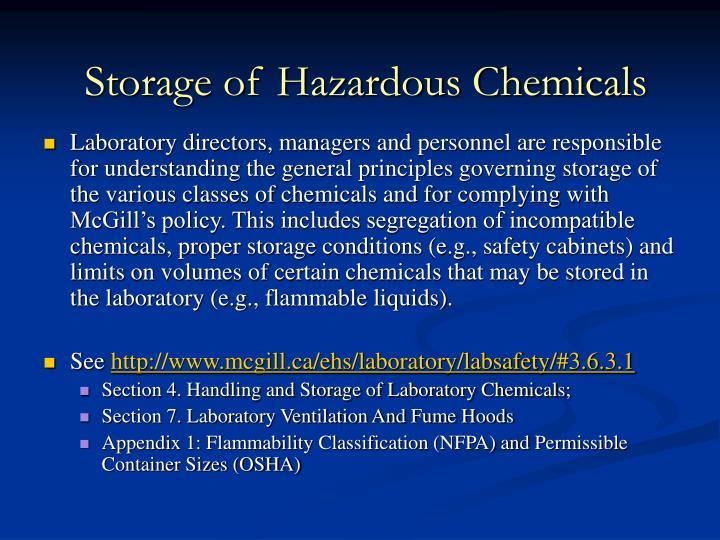 Storage of Hazardous Chemicals