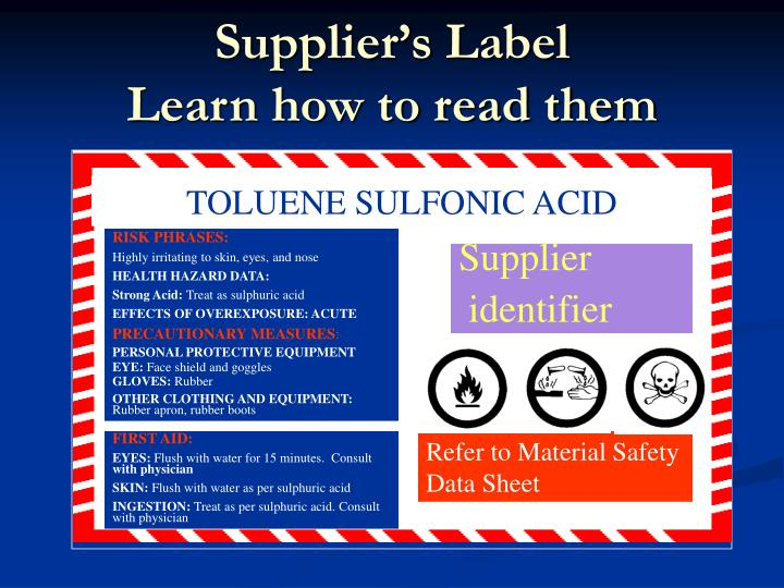 Supplier's Label