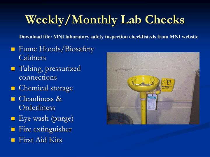 Weekly/Monthly Lab Checks