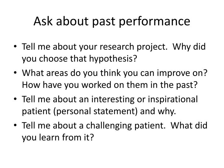 Ask about past performance