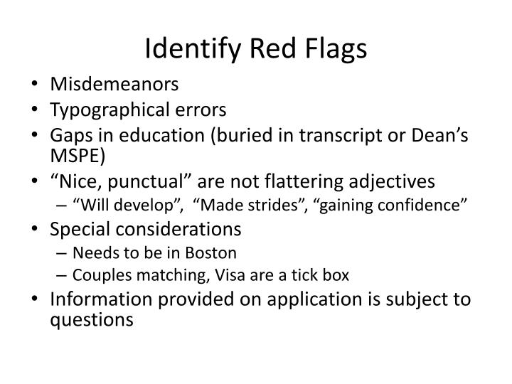 Identify Red Flags
