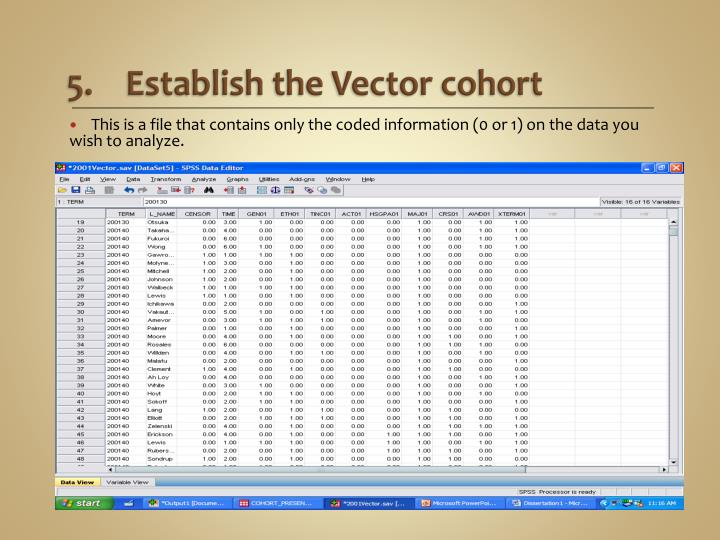 Establish the Vector cohort