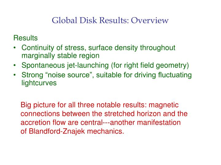 Global Disk Results: Overview