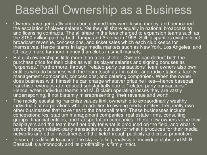 Baseball Ownership as a Business