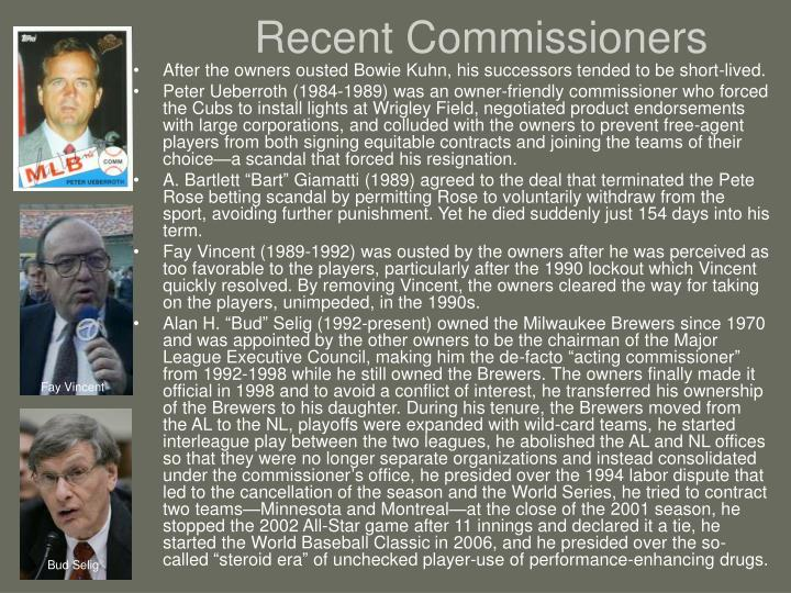 Recent Commissioners