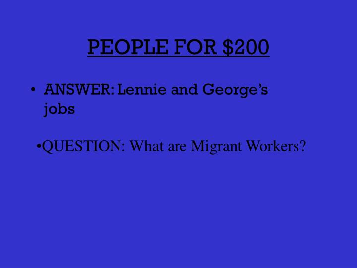PEOPLE FOR $200