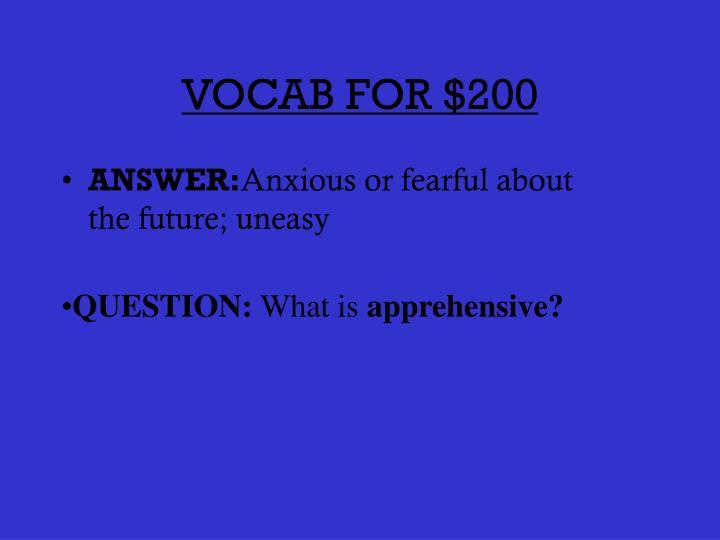 VOCAB FOR $200