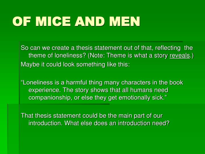 of mice and men thesis statement about friendship