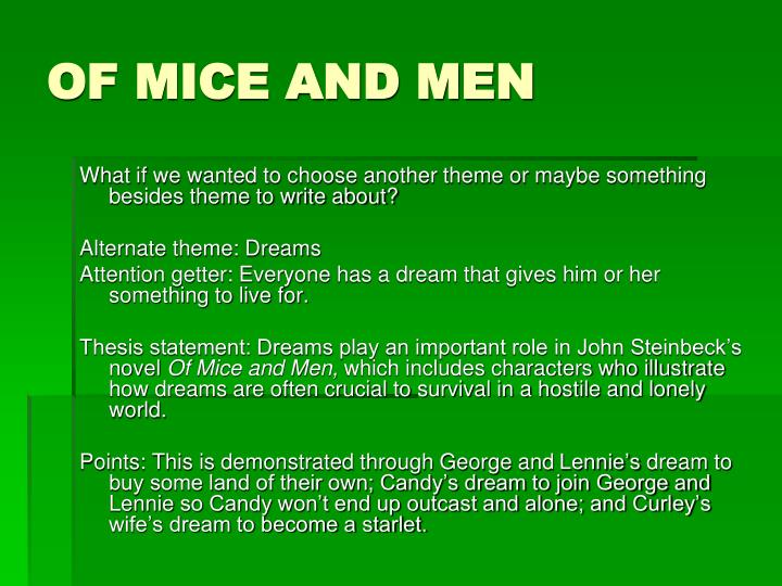 Thesis Statements For Of Mice And Men