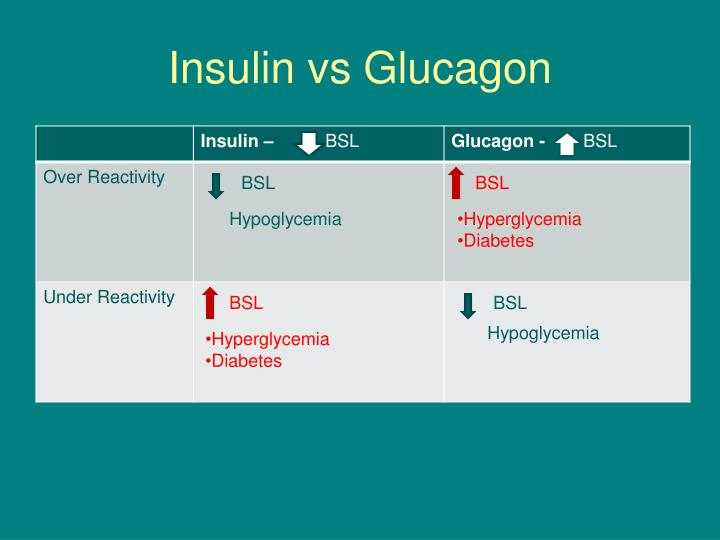 Insulin vs Glucagon