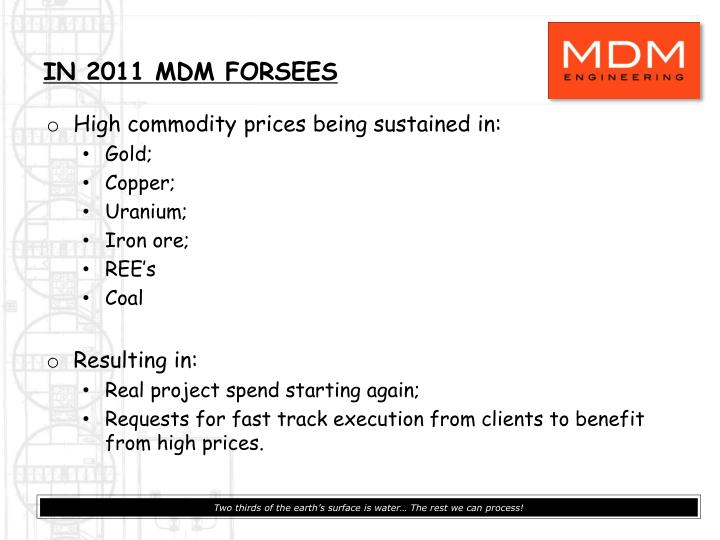 IN 2011 MDM FORSEES