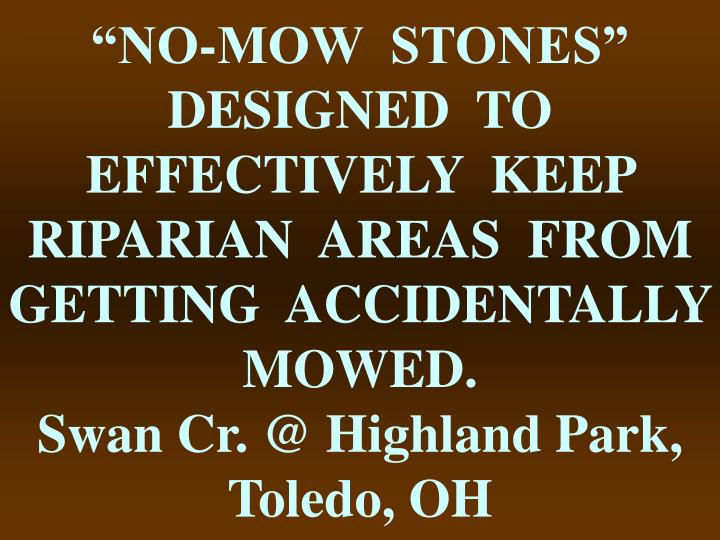 """NO-MOW  STONES""  DESIGNED  TO  EFFECTIVELY  KEEP  RIPARIAN  AREAS  FROM  GETTING  ACCIDENTALLY  MOWED."
