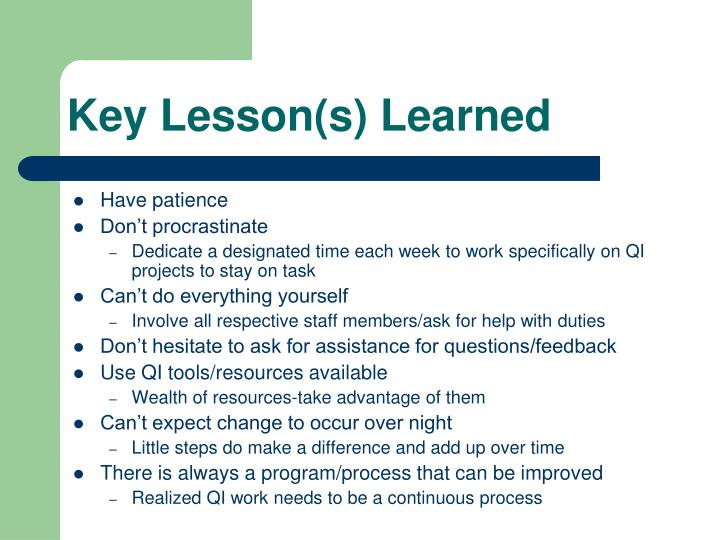 Key Lesson(s) Learned