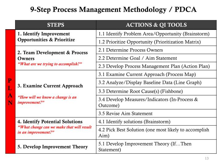 9-Step Process Management Methodology / PDCA