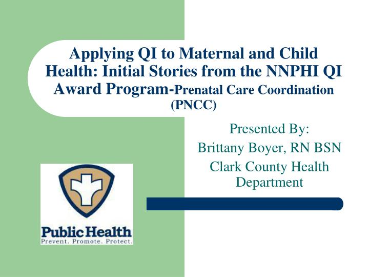Applying QI to Maternal and Child Health: Initial Stories from the NNPHI QI Award Program-