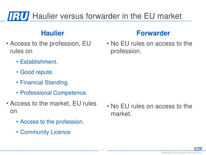 Haulier versus forwarder in the EU market