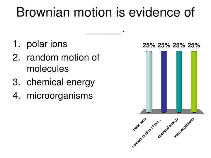 Brownian motion is evidence of _____.