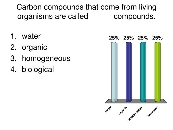 Carbon compounds that come from living organisms are called _____ compounds.