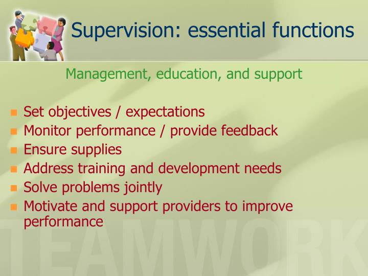 Supervision: essential functions