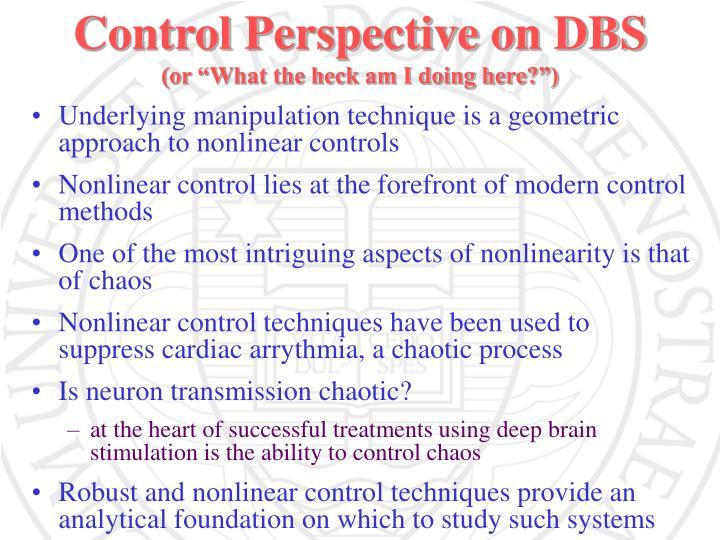 Control Perspective on DBS