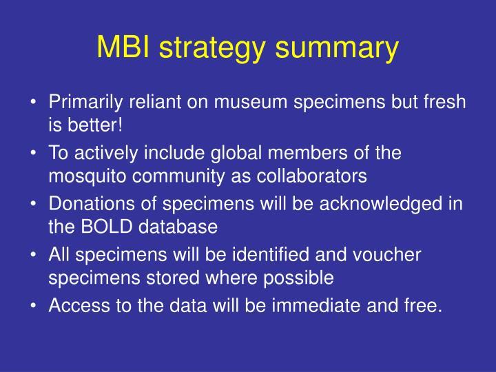 MBI strategy summary