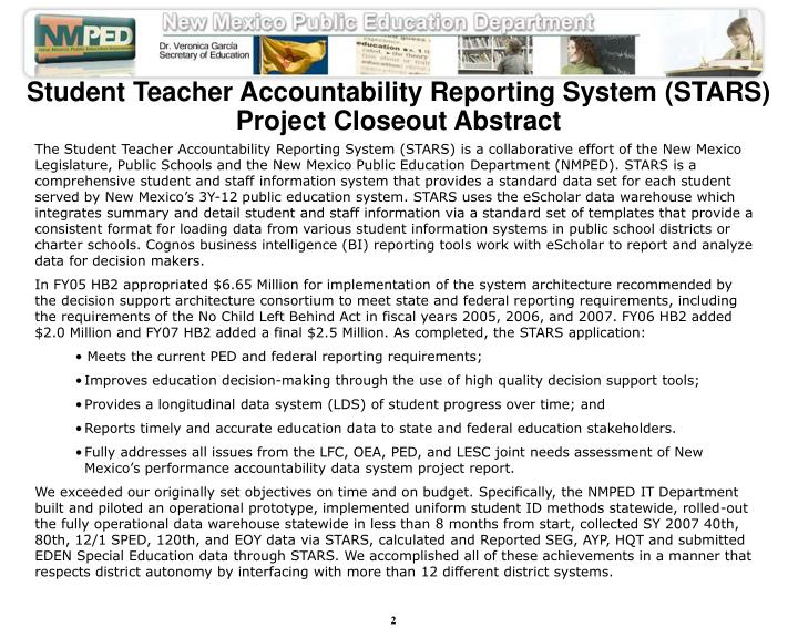 Student Teacher Accountability Reporting System (STARS)