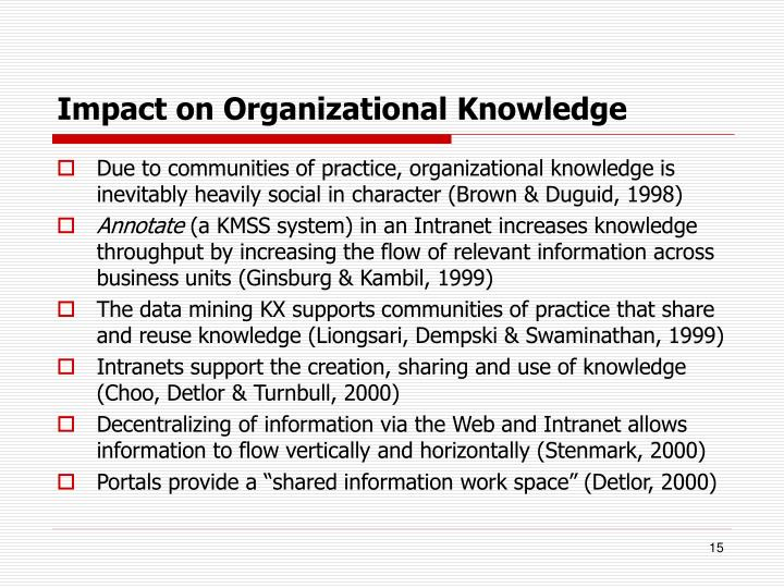 Impact on Organizational Knowledge