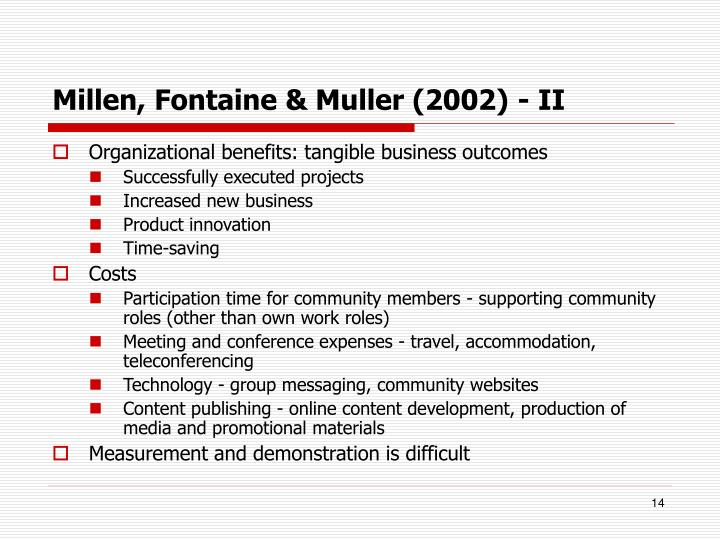 Millen, Fontaine & Muller (2002) - II
