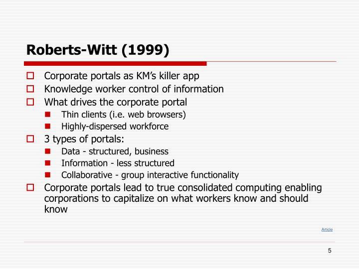 Roberts-Witt (1999)