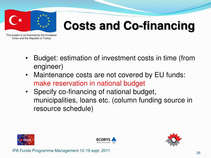 Costs and Co-financing