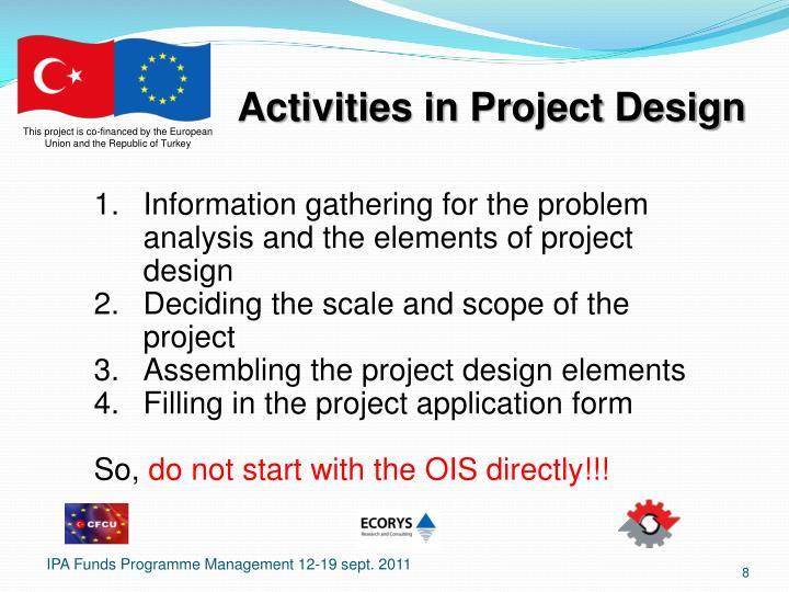 Activities in Project Design