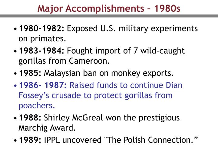 Major Accomplishments – 1980s