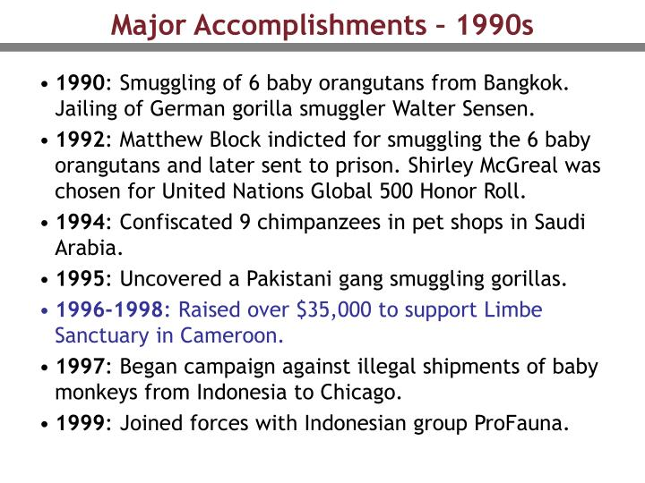 Major Accomplishments – 1990s