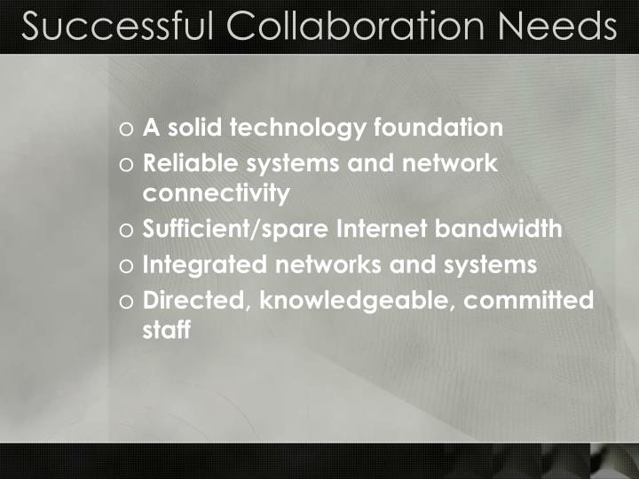 Successful Collaboration Needs