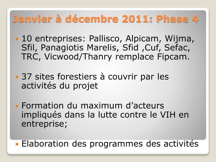 10 entreprises: Pallisco, Alpicam, Wijma, Sfil, Panagiotis Marelis, Sfid ,Cuf, Sefac, TRC, Vicwood/Thanry remplace Fipcam.
