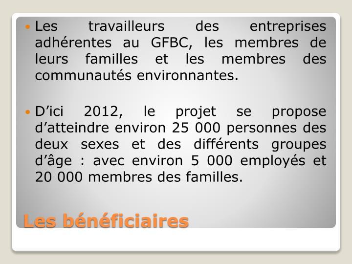 Les travailleurs des entreprises adhérentes au GFBC, les membres de leurs familles et les membres des communautés environnantes.