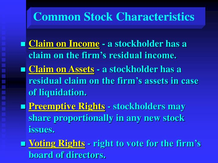 Common Stock Characteristics