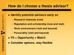 how do i choose a thesis advisor