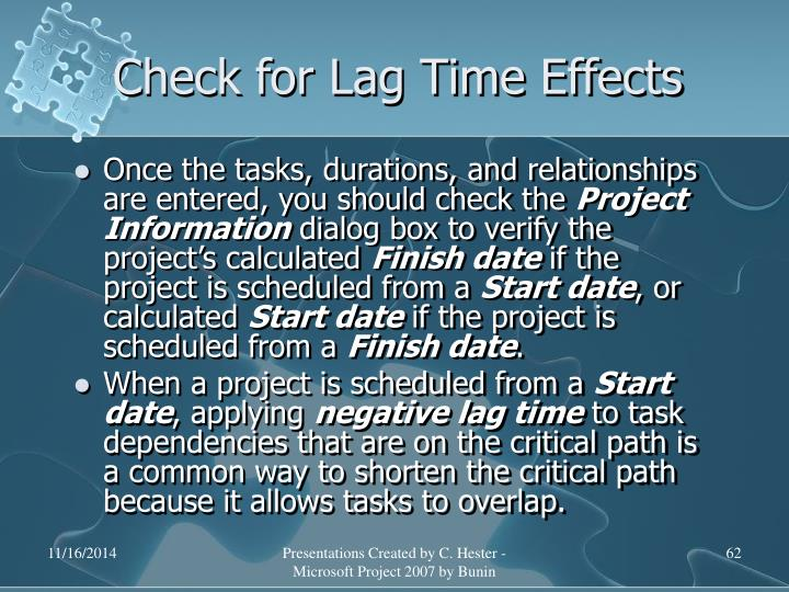 Check for Lag Time Effects